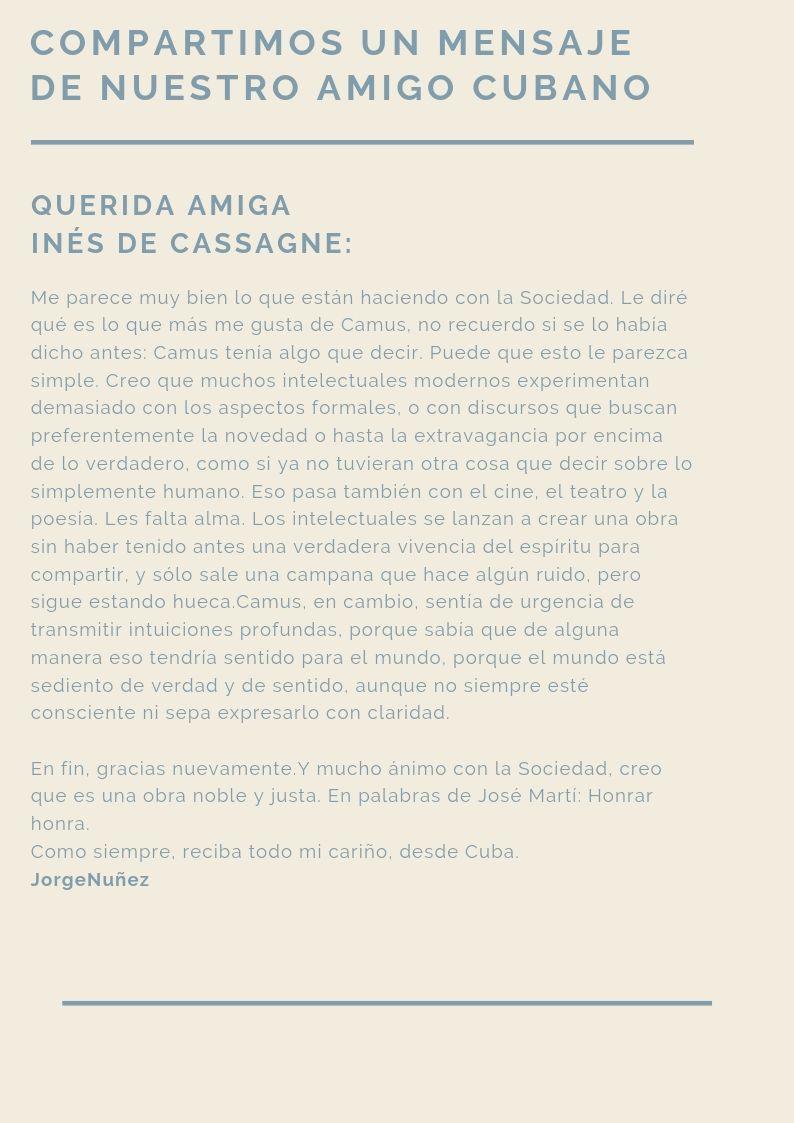 carta de un amigo cubano